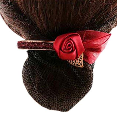 Ladies Bowtie Mesh Elastique Bun Couverture Hairnets Hair Snood, Rose rouge vin, fin maillage