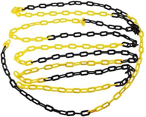 Cadena de plástico barrera negra y amarilla 6mm 25 metros