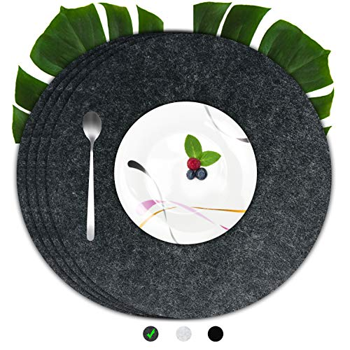 flamaroc Platzset Filz Tischset grau - Premium 4 Stück Set aus Filz, Moderne Platzdeckchen aus Filz mit Leder, waschbar, abwaschbar und hitzebeständig, Dunkelgrau, rund (35 cm Durchmesser)