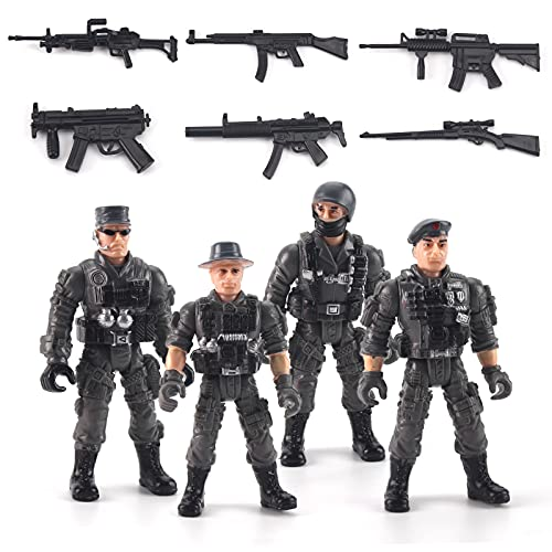 Elite Force Army Men Soldiers Marine Corps Action Figures Toy 4 PCS Soldier Military Model Collection Party Favors Toys for Kids(Gray)