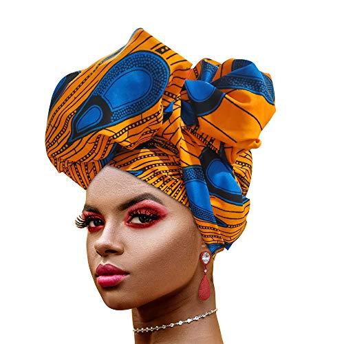 Novarena Long Kente Ankara African Print Headwraps for Women Hair Tie Scarf Turbans Dashiki Head wraps (Orange Blue Peacock)