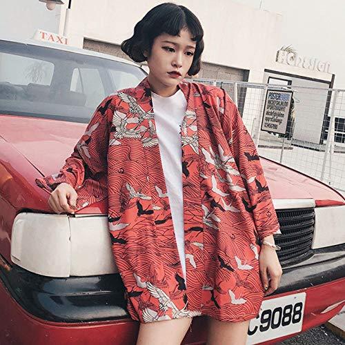 Japanische Kimono Asiatischen Yukata Frauen Harajuku Tops Japanese Traditional Orient Ethnische Strickjacke Kimonos Unisex Dünne Lose Blusen Hyococ (Color : As picture-19.98, Size : M)