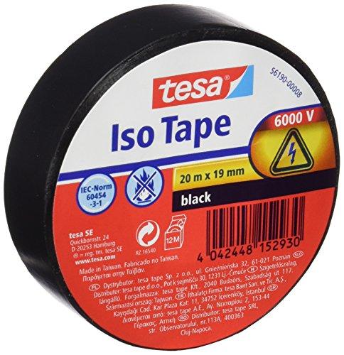 TESA 56190-00009-01 Isolierband Schwarz 56190, 20m x 19mm