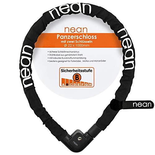 Nean Fiets-motor-kabelslot, 2 sleutels, textiel mantel, zwart, 22 x 1000 mm