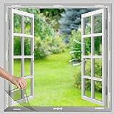 UtauHom Moustiquaire magnétique pour fenêtre avec fixation magnétique, peut être découpée pour toutes les fenêtres jusqu'à 150 x 150 cm, montage facile, 18 aimants (150 x 150 cm)