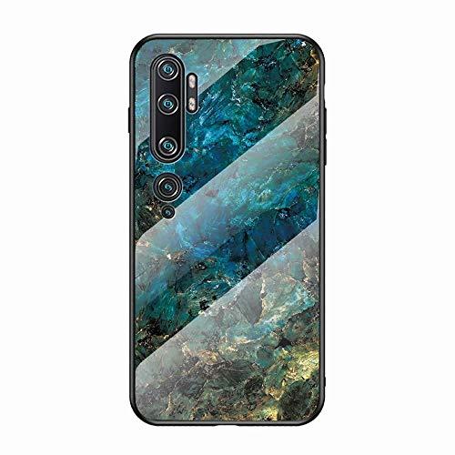 Miagon Glas Handyhülle für Xiaomi Mi Note 10,Marmor Serie 9H Panzerglas Rückseite mit Weicher Silikon Rahmen Kratzresistent Bumper Hülle für Xiaomi Mi Note 10,Grün