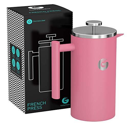 Coffee Gator French Press Kaffeemaschine – Heißer-für-länger Thermobrüher mit weniger Ablagerungen – Plus Behälter – Großes Fassungsvermögen, doppelwandig isoliert – Edelstahl – 1 Liter – Rosa