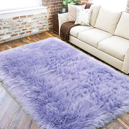 LOCHAS Ultra Soft Fluffy Rugs Faux Fur Sheepskin Area Rug for Bedroom Bedside Living Room Carpet Nursery Washable Floor Mat, 5x8 Feet Lavender