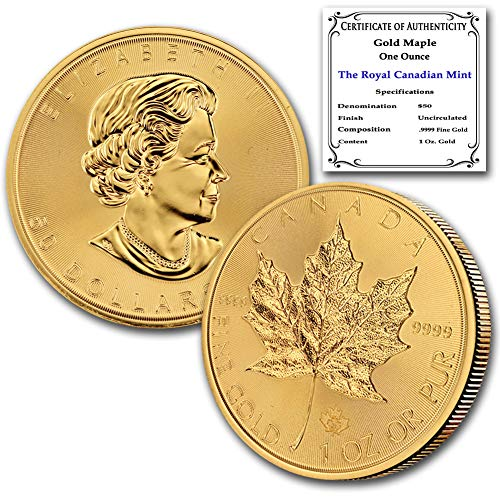 2021 CA 1 oz Gold Maple Leaf Coin Brilliant Uncirculated with our Certificate of Authenticity by CoinFolio $50 BU