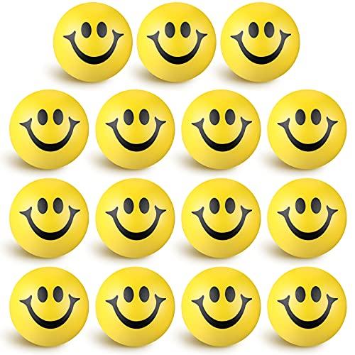 15 Stücke Stressbälle für Erwachsene Kinder Gelbes Lächeln Lustiges Emoji Gesicht Stressbälle Squeeze Bälle, Mini Schaum Kugeln Lächeln Stressball Partytasche Füllstoffe für Party Bevorzugungen