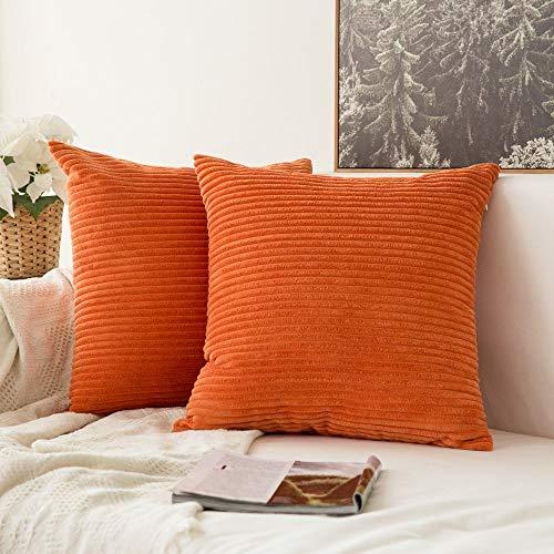 Alimama Funda de cojín de pana decorativa de un solo color para cojín de sofá, 2 unidades