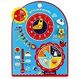 Jacootoys 8 in 1 Calendario Didattico in Legno Orologio Bambini Multifunzione Giocattolo Educativo Regalo di Compleanno per Ragazzi Ragazze
