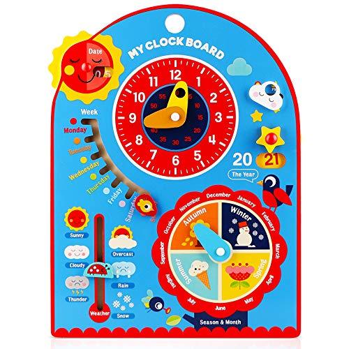 Jacootoys 8 en 1 Calendario Reloj de Aprendizaje Juguetes Educativos Montessori de Madera Pequeños Niños Niñas Regalos