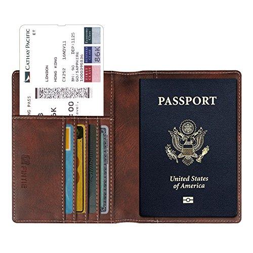 Fintie Reisepass Schutzhülle - Premium Kunstleder Reisepasshülle Halter mit RFID Blockier für Kreditkarten, Ausweis und Reisedokumente, Vintage Braun