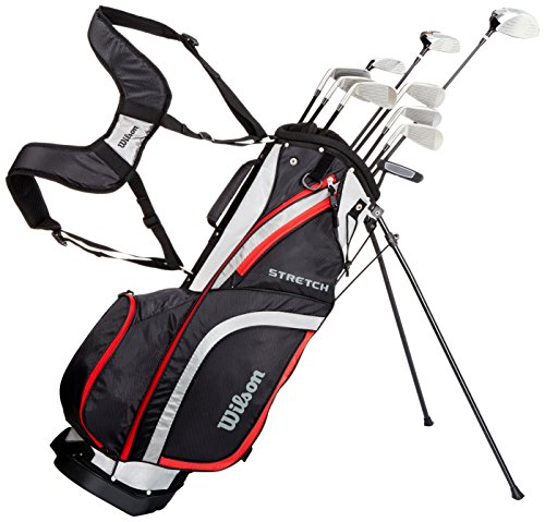 Wilson, Set completo para principiantes, 10 palos de golf con bolsa de transporte, Hombre (mano derecha) Stretch XL, Negro/Gris/Rojo, WGG157551