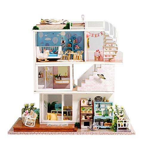 RION Kit De Casa De Muñecas En Miniatura DIY Casa Hecha A Mano, Modelo De Casa En Miniatura con Muebles, Música Hecha A Mano, Regalos para Niños Y Adultos