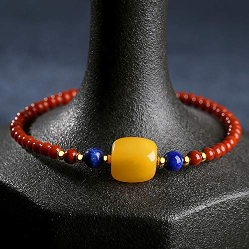 WCOCOW Feng Shui Pulsera De Riqueza para Mujeres S925 ST925 Sterling Silver Agate Red Beads Lapis Lazuli Bees Transfer Tube Pulsera Aminable Amuleto Atraer Dinero Suerte