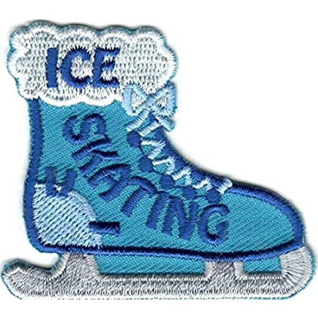 ID 1470 Pair of Hockey Skates Tied Patch Skating Embroidered Iron On Applique