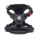 PoyPet No Pull Dog Harness, No Choke Front Lead Dog Reflective Harness, Adjustable Soft Padded Pet Vest with Easy Control Handle for Small to Large Dogs(Black,M)