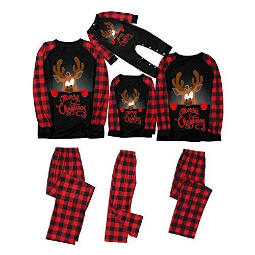Zilosconcy Natale Pigiama Famiglia Set Mamma papà Bambino Neonato Pagliaccetto Natale Renna Pigiami da Notte Due Pezzi Cotone Manica Lunga T-Shirt e Pantaloni