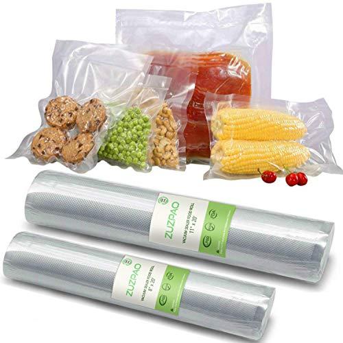ZUZPAO Bolsas de Vacio, 2 Rollos para sellar al vacío sin BPA, 28 cm x 6 m (11
