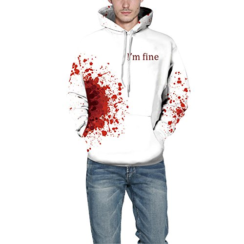 3D Printed Hippie Hoodie Pullover Street Snap Lover's Sweatshirts Bloody Mood I'm Fine (S/M) White/Red