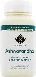 Savesta, Ashwagandha Vegetable Capsules, 60 Count