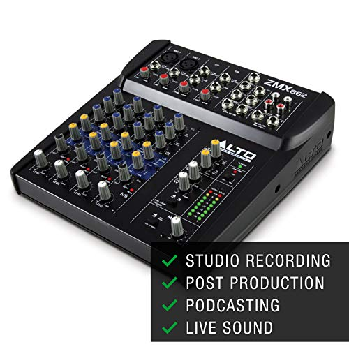 Alto Professional ZMX862 - Mesa de mezclas compacta de 6 canales con calidad de estudio, dos entradas de micrófono XLR, dos entradas estéreo y dos salidas Aux