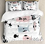 Nursery Double Bedding Duvet Cover 3 Piece, Cartoon of with Animals and Under The Sea Lettering, Soft Bedding Protects with 1 Comforter Cover 2 Pillowcase, Pale Blue Grey Baby Pink White Black