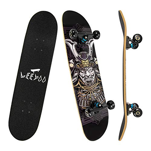 Leeyoo Skateboard 31-Inch 8 Layer Maple Double Kick Deck Concave Cruiser...