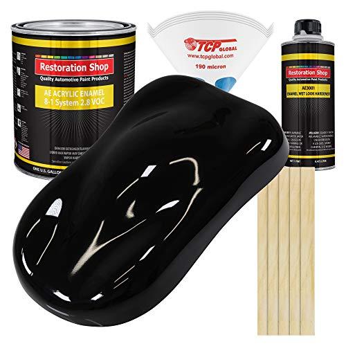 Restoration Shop - Jet Black (Gloss) Acrylic Enamel Auto Paint - Complete Gallon Paint Kit - Professional Single Stage High Gloss Automotive, Car, Truck, Equipment Coating, 8:1 Mix Ratio, 2.8 VOC