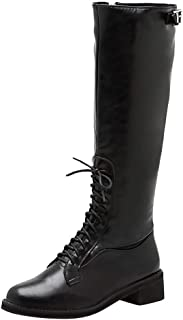 JJHAEVDY Women's Knee High Riding Boots Lace Up Buckles Winter Combat Boots Leather Wide-Calf Block Heel Military Shoes