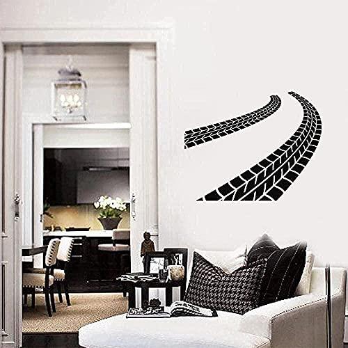 Mural de vinilo pegatinas de pared autoadhesivas a prueba de agua pista de neumáticos garaje interior habitación de los niños dormitorio 71x57cm