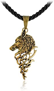 AILUOR Mens Norse Wolf Head Pendant Necklace, Vintage Stainless Steel Leather Norse Viking Celt Arrow Headed Amulet Jewelry Unisex