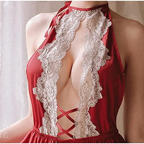 DEMXYA Lencería Sexy, Servicio de Hogar, Lace Uniforme, Tentación Halter Nightdress (Todo Tamaño) Traje Sexy (Color : Red)