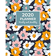 2020 Planner Weekly and Monthly: Calendar View Organizer Agenda With Inspirational Motivational Positive Affirmation Quotes / Jan 2020 to Dec 2020 / Pretty Abstract Floral Navy Cover