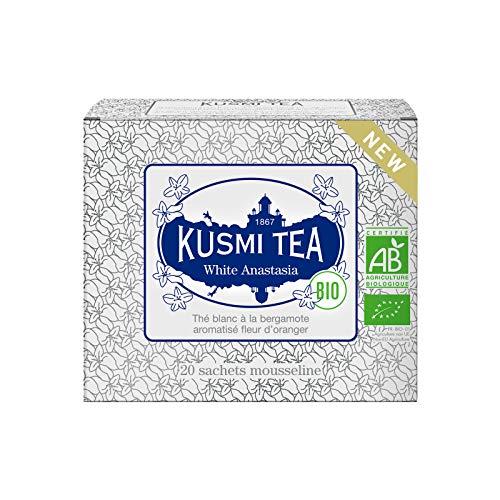 Kusmi Tee - Tee White Anastasia Bio - Weißer Tee mit Bergamotte, Orangenblüten und Zitronengeschmack - 20 Musselin Teebeutel