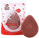 MY Konjac Sponge All Natural Korean Fiber French Red Clay Facial Sponge. Excellent for Dry or Mature Skin. Halal, Leaping Bunny Cruelty Free and the Vegan Society Certified