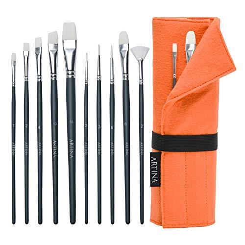 Artina Set de Pinceles de Pintura Eindhoven. 11 Piezas Naranja. Rodillo Soporte de Nailon. para acrílicos y más. 10 Pinceles y el Rodillo/Soporte