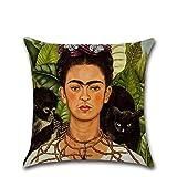 Funda de cojín de Excelsio, diseño de autorretrato de la pintora mexicana Frida Kahlo, cuadrada, de algodón, para sofás y camas de salones y habitaciones, 45 x 45 cm, decoración del hogar