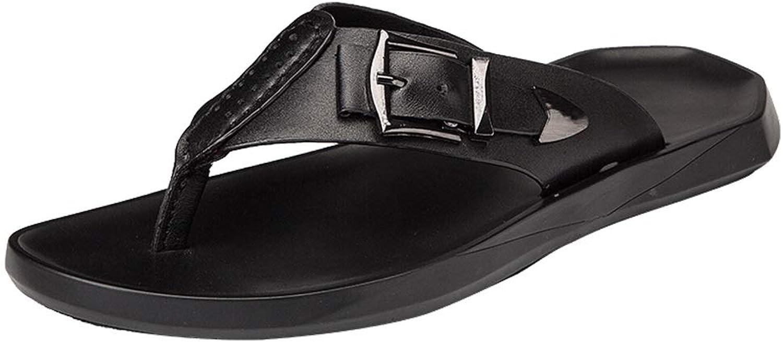 Flip flops Men's Adult Flip Flops Thong Quick Dry Comfortable Slippers Leather Sandals Decorative Metal Buckle flip flops (color   Black, Size   8 UK)