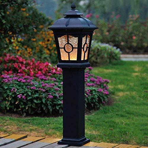 IUHUA Europea 80CM Impermeable LED Pastizales Luz de césped Linterna de Vidrio Tradicional Paisaje Jardín Villa Pilar Luz de Calle Lámpara de pie al Aire Libre a Prueba de Lluvia Lámpara de Columna