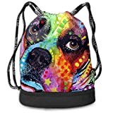 PmseK Sac à Dos imprimé avec Cordon de Serrage, Colorful Boxer Dog Draw String Bags Sack Pack Cinch Storage Bag for Traveling...