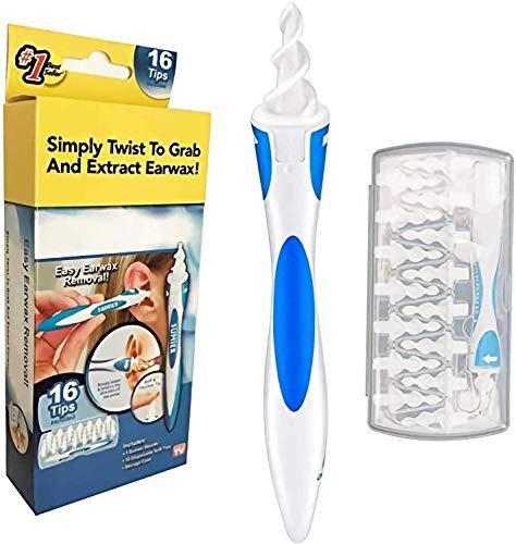 Ohrenreiniger, Ohrenschmalz Entferner Q-grips, Sicheres und Weiches 360 Grad Spirale Silikon Ear Cleaning kit mit 16 abwaschbaren Ersatzköpfen, Geeignet für Kinder und Erwachsene
