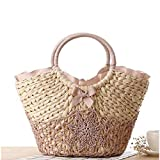 Dwqlx Beach Bag Big Straw Totes Bag Handmade Woven Women Travel Handbags Diseñador De Lujo Crochet Flower-2