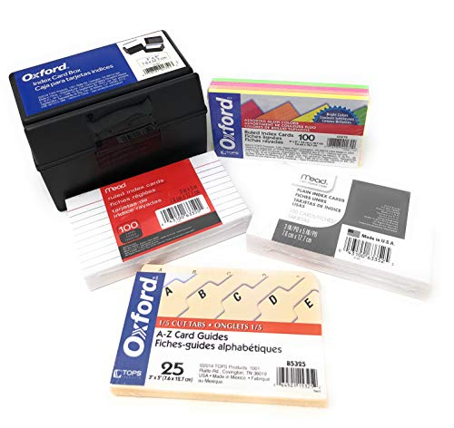 Oxford 3x5 Plastic Index Card File Box Bundled with A-Z Index Card Guides, Ruled Neon Index Cards, White Ruled Index Cards, and Plain Blank Index Cards