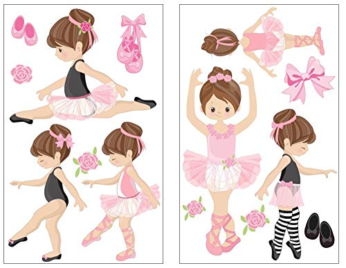 Samunshi® 14x Wandtattoo Rosa Ballerina Mädchen Set Wandbilder Kinderzimmer Deko Junge Wandtattoo Kinderzimmer Mädchen Wandsticker 2X 16x26cm