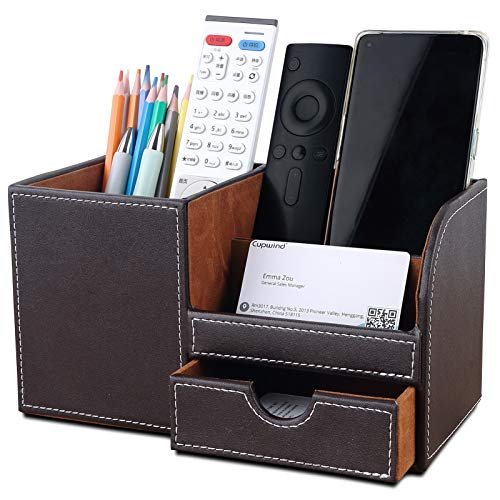 Cupwind Desktop Pen Pencil Holder Desk Stationary Organzier Storage Box Cell phoneBusiness Name Cards Accessories Organizer Remote Control Holder