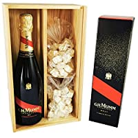 champagne mumm - cordon rouge in cassa 2 * 150 grammi nougadets bianchi - jonquier deux frères - in scatola di legno