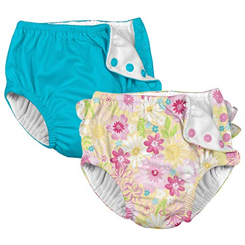 i Play 2 Pack Girls Reusable Absorbent Leakproof Swimming Baby Swim Diapers Watercolor Floral and Aqua Blue 6 Months